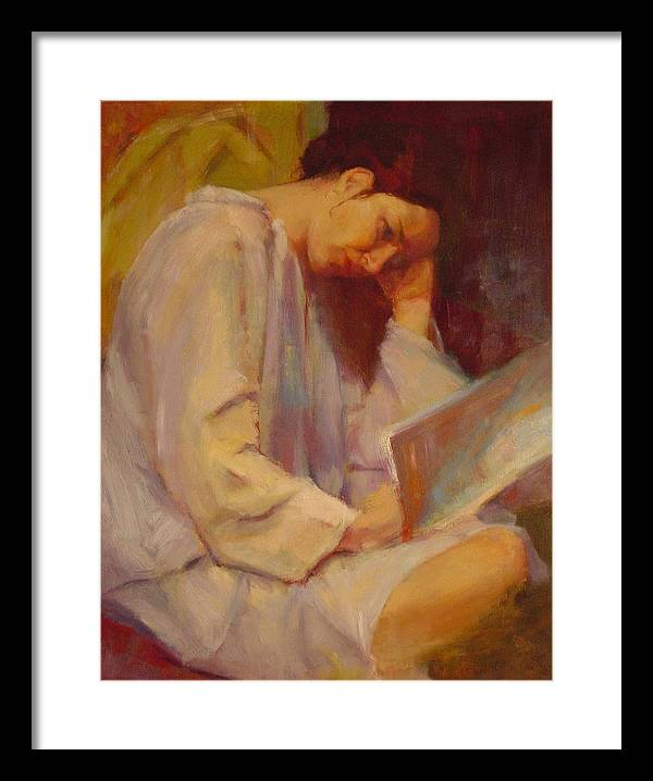 Figure Framed Print featuring the painting Reading In The Blue Robe by Irena Jablonski