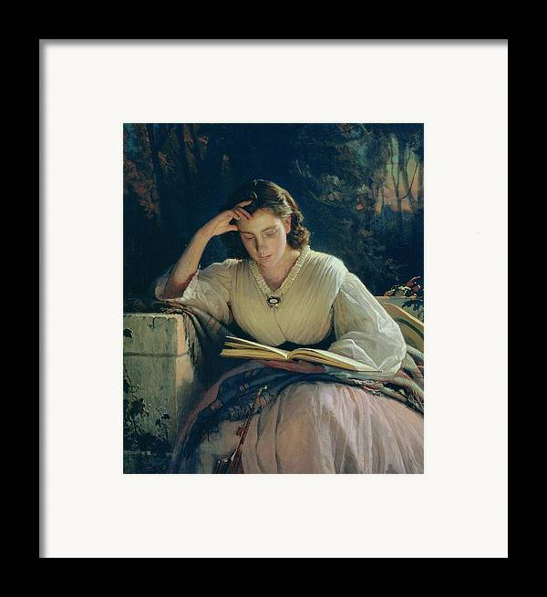 Female Framed Print featuring the painting Reading by Ivan Nikolaevich Kramskoy