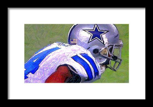 Dallas Cowboys Framed Print featuring the digital art Ready For The Play by Carrie OBrien Sibley
