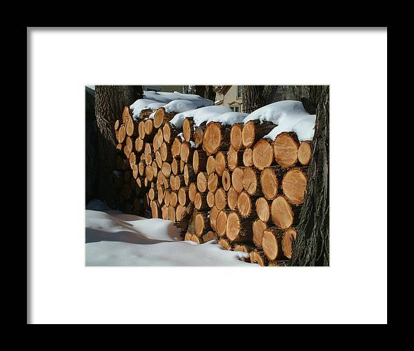Logs Framed Print featuring the photograph Ready For Winter by Mike Hinton