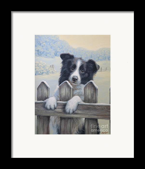 Dog Paintings Framed Print featuring the painting Ready For Work by John Silver