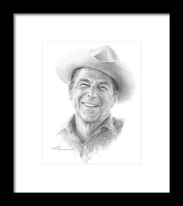 Www.miketheuer.com Framed Print featuring the drawing Reagan Drawing Mike Theuer by Mike Theuer