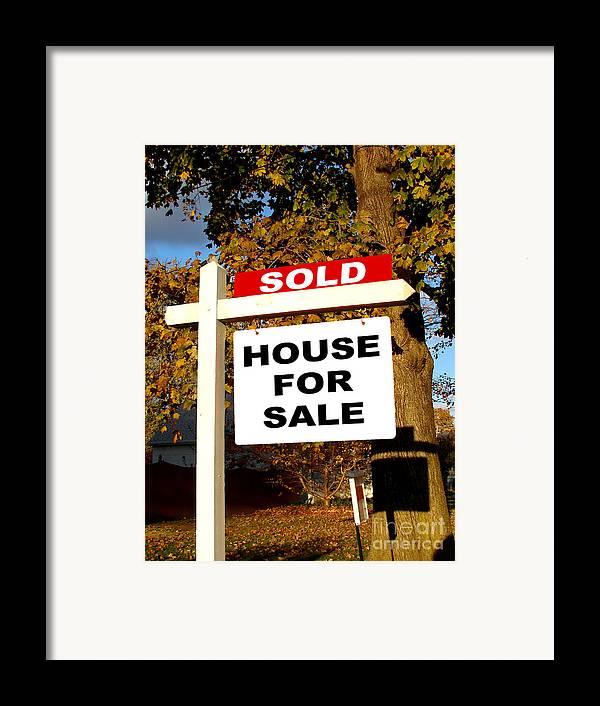 Real Estate Framed Print featuring the photograph Real Estate Sold And House For Sale Sign On Post by Olivier Le Queinec