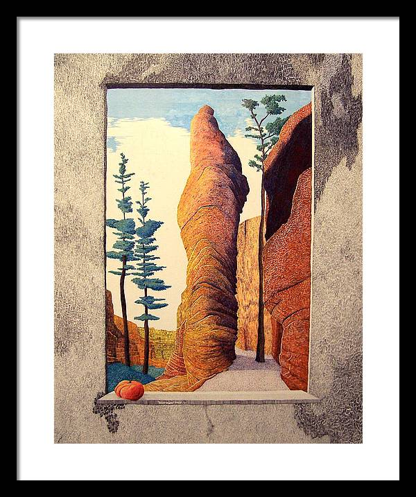 Landscape Framed Print featuring the painting Reared Window by A Robert Malcom
