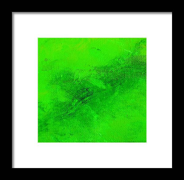 Abstract Framed Print featuring the painting Reclusive Emerald Green by L J Smith