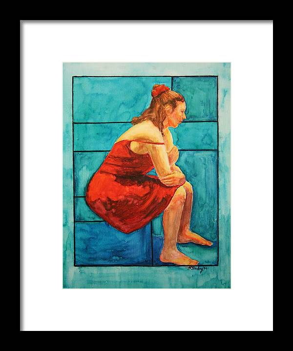 Framed Print featuring the painting Red and Blue by Helen Hickey