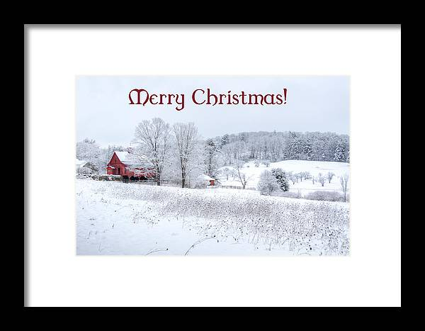Card. Cards Framed Print featuring the photograph Red Barn Christmas Card by Donna Doherty