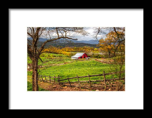 Andrews Framed Print featuring the photograph Red Barn by Debra and Dave Vanderlaan
