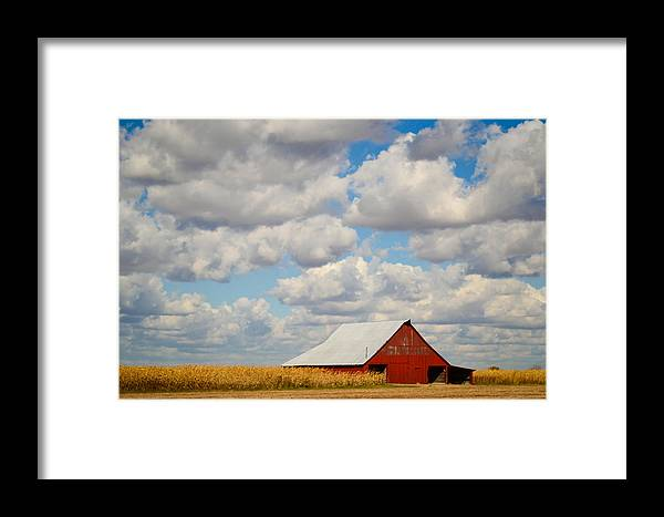 Fall Framed Print featuring the photograph Red Barn In Autumn by Aaron Greuel