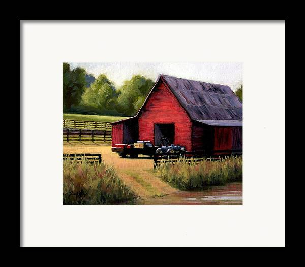 Barn Framed Print featuring the painting Red Barn In Leiper's Fork Tennessee by Janet King