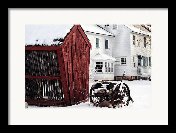 Red Barn In Winter Framed Print featuring the photograph Red Barn In Winter by John Rizzuto