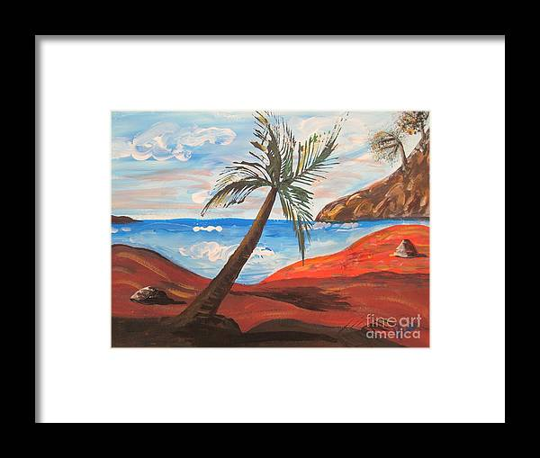 Beach Framed Print featuring the painting Red Beach by Judy Via-Wolff