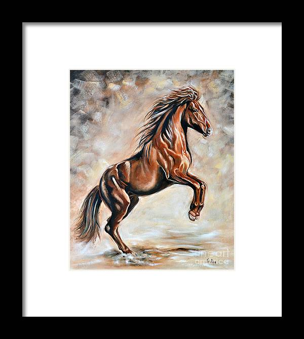 Horse Framed Print featuring the painting Red Beauty by Ilse Kleyn