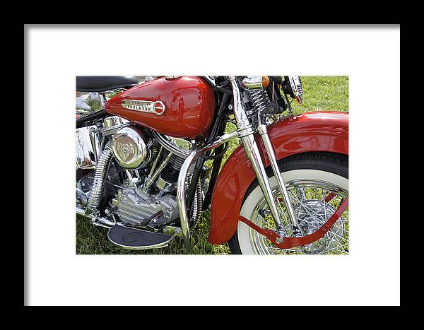 Antique Harley Framed Print featuring the photograph Red Beauty by Laurie Perry
