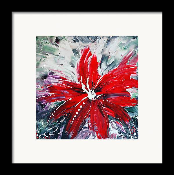 Abstract Framed Print featuring the painting Red Beauty by Teresa Wegrzyn