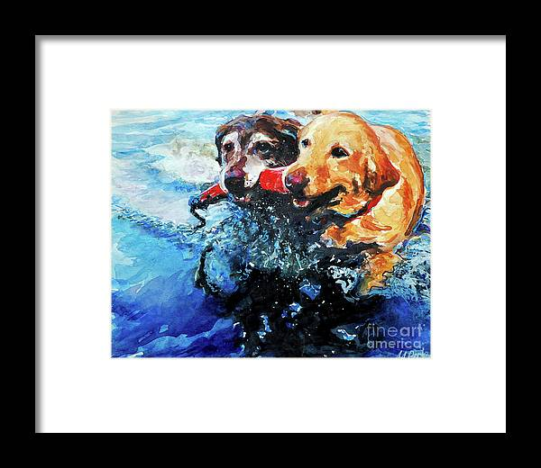 Labrador Retrievers Framed Print featuring the painting Red Bumper by Molly Poole