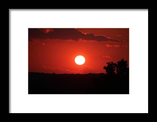 Red Sky Framed Print featuring the photograph Red By Mark Abbott by Cure Art