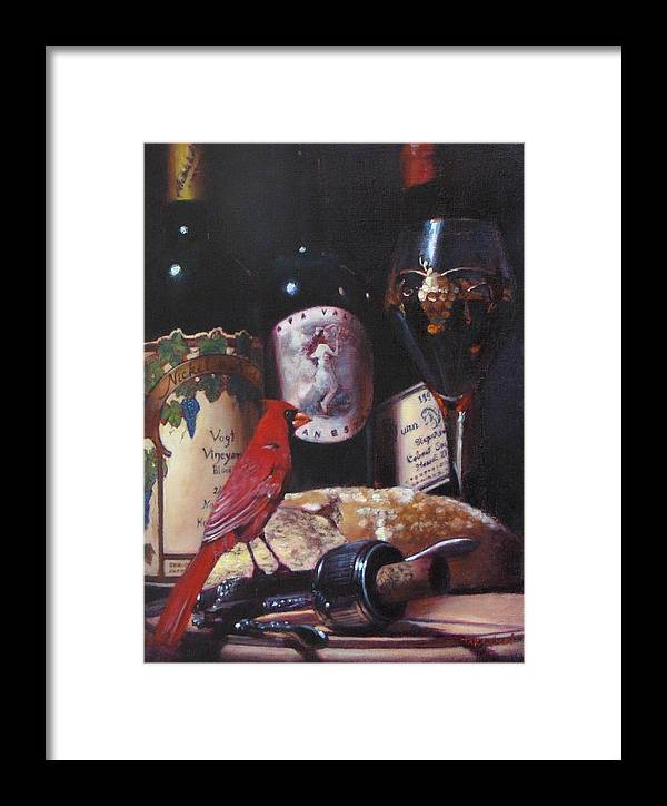 Wine Painting Framed Print featuring the painting Red Cardinal Red Wine Sin by Takayuki Harada