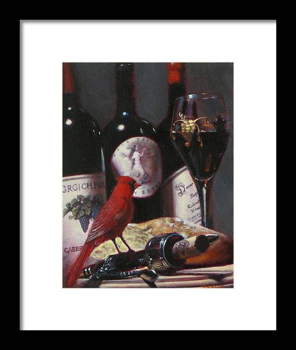 Wine Painting Framed Print featuring the painting Red Cardinal With Red Wine 2 by Takayuki Harada