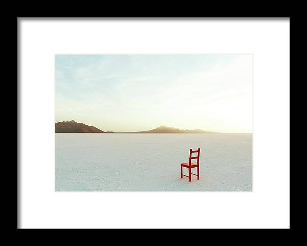 Tranquility Framed Print featuring the photograph Red Chair On Salt Flats, Facing The by Andy Ryan