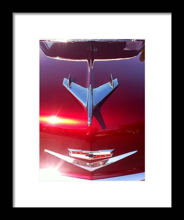 Red Car Hood Framed Print featuring the photograph Red Chevy Car Hood by Susan Garren