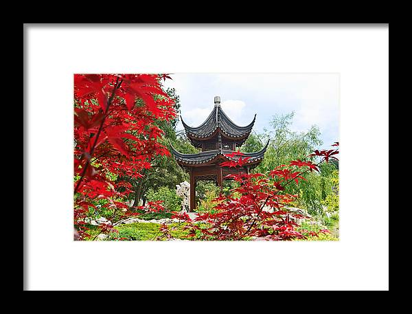 Chinese Garden Framed Print featuring the photograph Red - Chinese Garden With Pagoda And Lake. by Jamie Pham