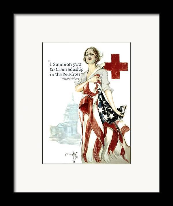 red Cross Framed Print featuring the digital art Red Cross World War 1 Poster 1918 by Daniel Hagerman
