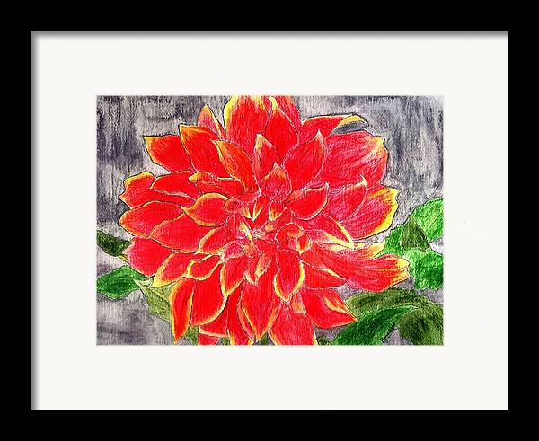 Flower Framed Print featuring the painting Red Dalia by Margie Byrne