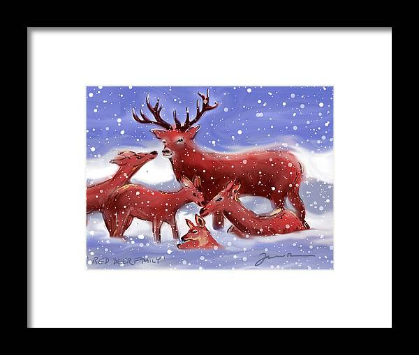 Deer Framed Print featuring the painting Red Deer Family by Jean Pacheco Ravinski