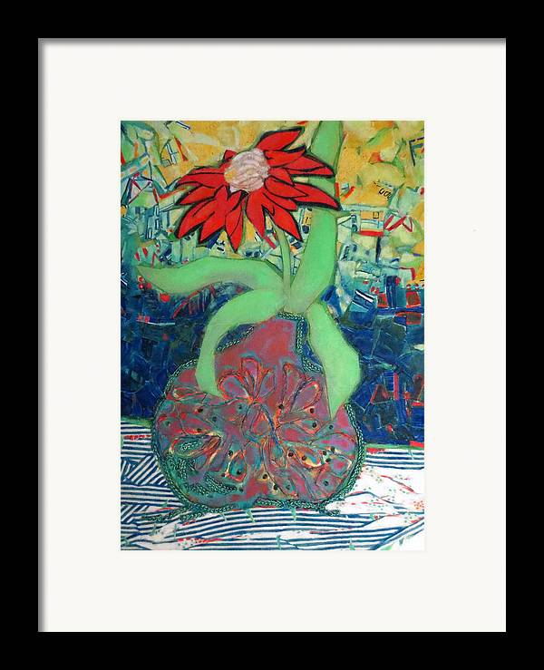 Still Life Mixed Media Framed Print featuring the mixed media Red Diasy by Diane Fine