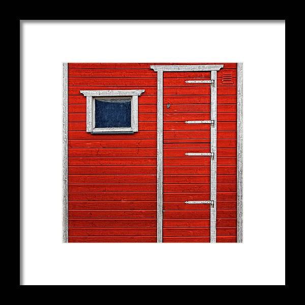 Built Structure Framed Print featuring the photograph Red Door And Window With White Frames - by Makasu