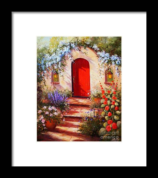 Red Door Framed Print featuring the painting Red Door by Gail Salitui