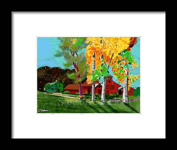 Cottonwoods On A Red Farm In Colorado. Framed Print featuring the mixed media Red Farm by Craig Nelson