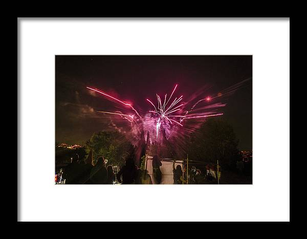 Background Framed Print featuring the photograph Red Firework by Tilyo Rusev