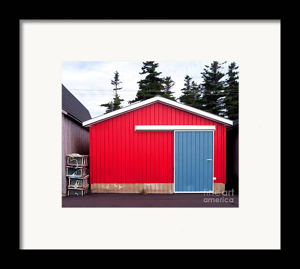Red Framed Print featuring the photograph Red Fishing Shack Pei by Edward Fielding
