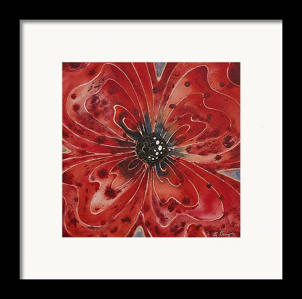 Flower Framed Print featuring the painting Red Flower 1 - Vibrant Red Floral Art by Sharon Cummings