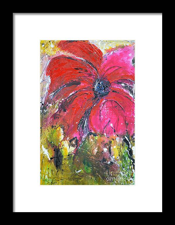 Lily Framed Print featuring the painting Red Flower - Abstract Painting by Ismeta Gruenwald