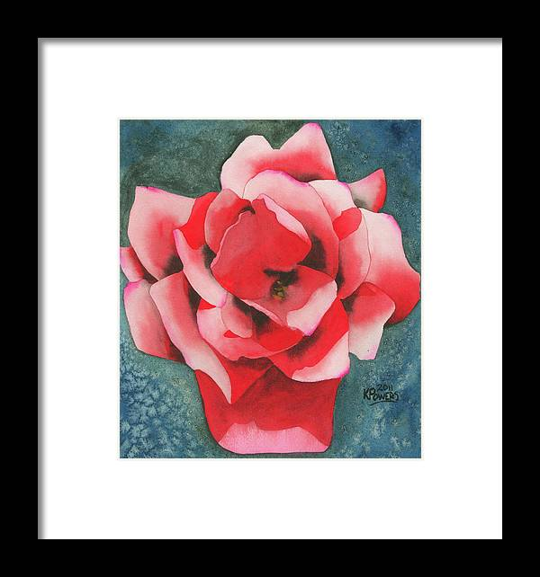 Red Framed Print featuring the painting Red Flower Two by Ken Powers