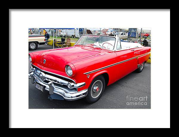 Classic American Auto Framed Print featuring the photograph Red Ford Convertible by Mark Spearman
