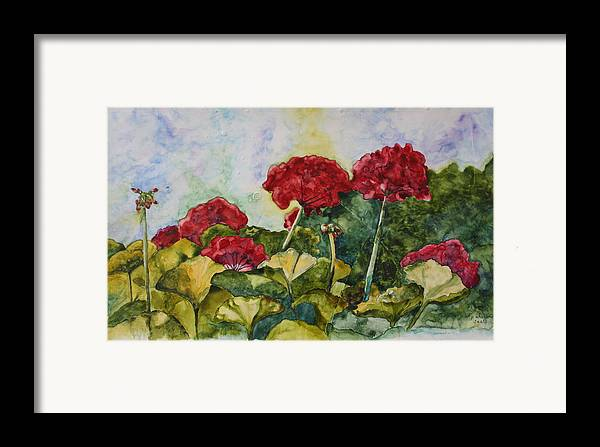 Red Geraniums Framed Print featuring the painting Red Geraniums by Patsy Sharpe
