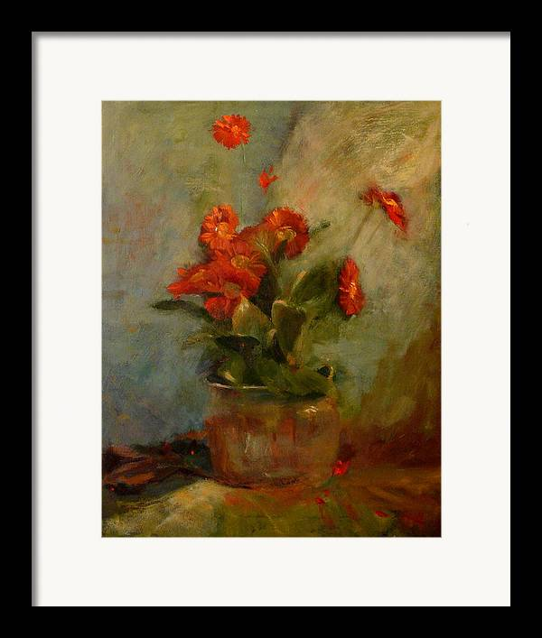 Red Framed Print featuring the painting sold Red Gerberas by Irena Jablonski