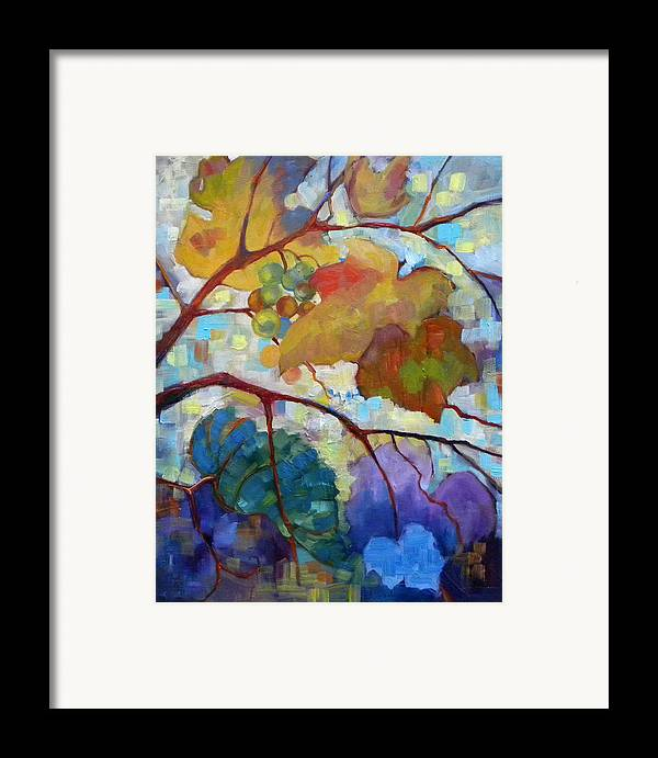 Grapes Framed Print featuring the painting Red Grape Vines IIi by Peggy Wilson