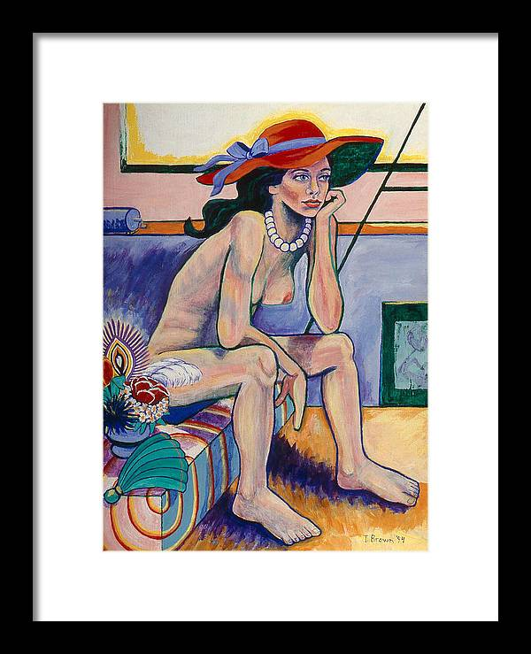 Nude Framed Print featuring the painting Red Hat And Pearls by Terrie Rockwell