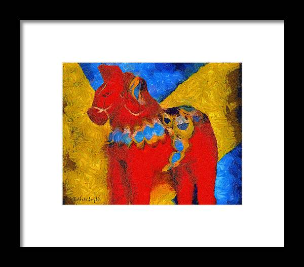 Barbara Snyder Framed Print featuring the digital art Red Horse by Barbara Snyder