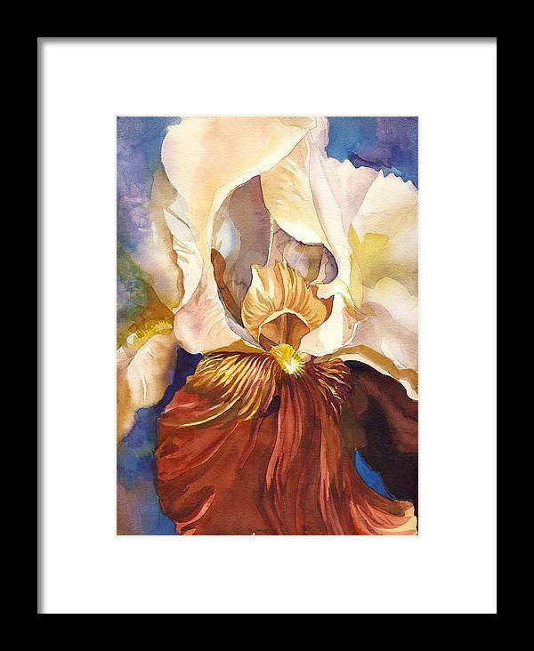 Red Iris Framed Print featuring the painting Red Iris With Blue by Alfred Ng
