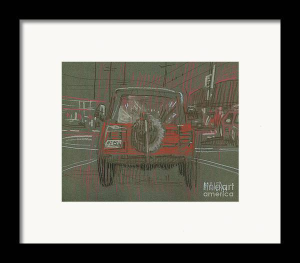 Jeep Framed Print featuring the drawing Red Jeep by Donald Maier
