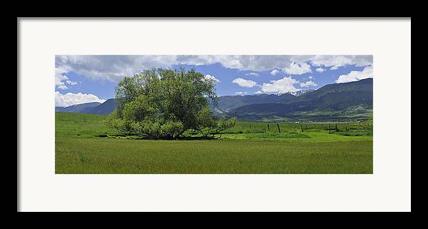 Beautiful Framed Print featuring the photograph Red Lodge Spring Scene Panorama 3 by Roger Snyder