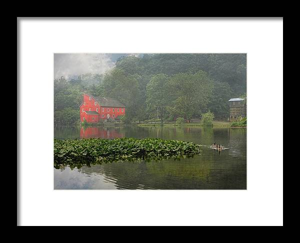 Red Mill Framed Print featuring the photograph Red Mill Misty Morning by Pat Abbott