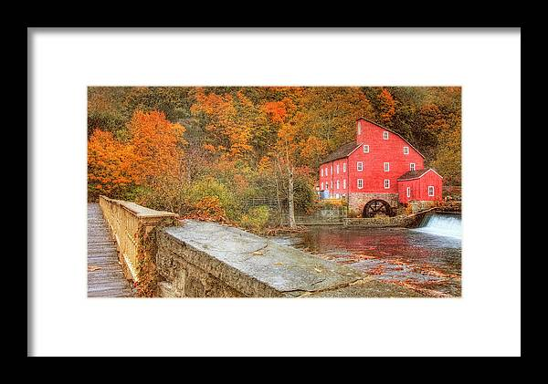 Red Mill Framed Print featuring the photograph Red Mill With Texture by Pat Abbott