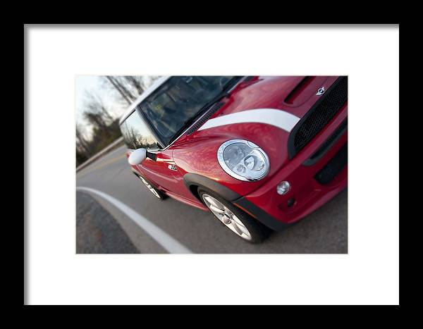 Red Framed Print featuring the photograph Red Mini-cooper Car On County Road by Nicole Berna